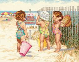 """Dimensions """"Beach Babies"""" Counted Cross Stitch Kit, 14"""" x 11"""