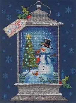 "Dimensions Counted Cross Stitch Kit 9""X12"" Snowman Lantern ("