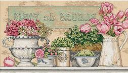 """Dimensions """"Flowers Of Paris"""" Counted Cross Stitch Kit, 14"""""""