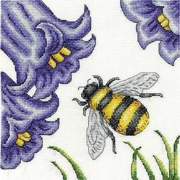 Counted Cross Stitch Kit ~ DMC Bee & Bluebells Flowers #BK15