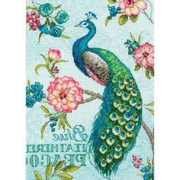 Counted Cross Stitch Kit  BLUE PEACOCK Dimensions Gold Colle