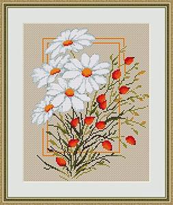 counted cross stitch kit daisies