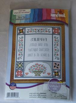 """Counted Cross Stitch Kit """"Families are Like Quilts """" 14"""""""