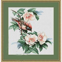 Counted Cross Stitch Kit Luca-S B299 - Bird in Flowers - NEW