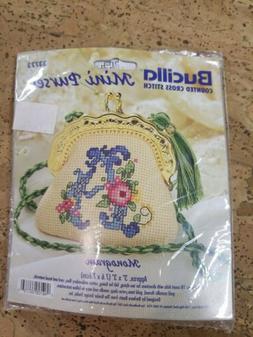 "BUCILLA Counted Cross Stitch Kit  MINI PURSE: ""MONOGRAM"" #33"