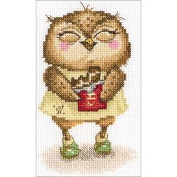 Counted Cross Stitch Kit. Owl, Chocolate Bits in Silver Foil
