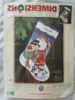 counted cross stitch santa snowman stocking kit