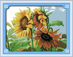 Benway Counted Cross Stitch Sunflowers In Wind 14CT 51x40CM