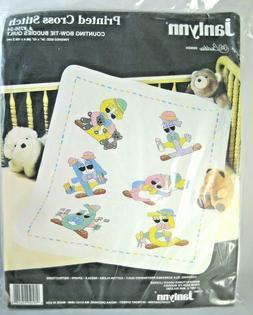 Janlynn Counting Bow Tie Buddies Baby Quilt Kit Printed Cros