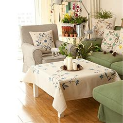 Ethomes cream cotton fabric tablecloth stamped cross stitch