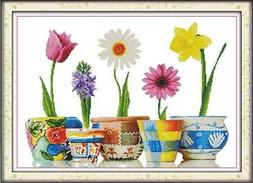 Happy Forever Cross Stitch, Flowers, wonderful life