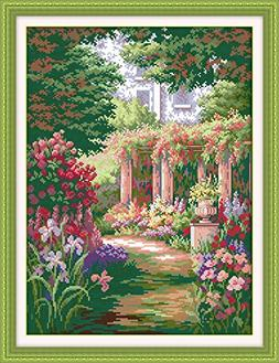 Happy Forever Cross Stitch, scenery, romantic backyard garde