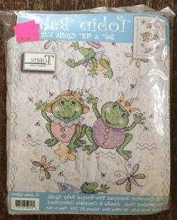 Tobin Cross Stitch Baby Crib Quilt Kit Baby Frogs by Joan El
