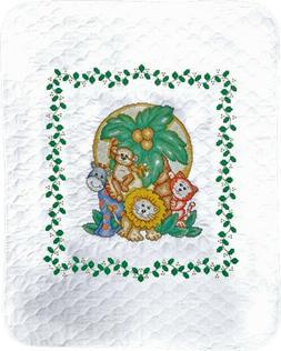 """Tobin Cross Stitch JUNGLE FRIENDS  Baby Quilt kit  34"""" x 43"""""""