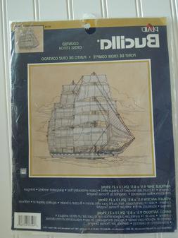 "Bucilla Cross Stitch Kit ANTIQUE SHIP Kit 14 Ct 9"" x 8"" Sail"