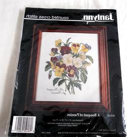 "Janlynn Cross Stitch Kit Bouquet of Pansies Pansy 10x13"""