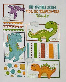 Cross Stitch Kit ~ Plaid/Bucilla Baby Dino Birth Record #477