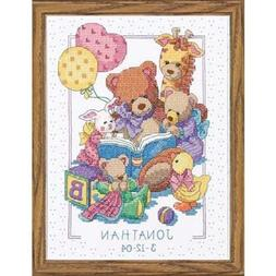 Cross Stitch Kit TEDDY AND FRIENDS BIRTH RECORD Baby Dimensi