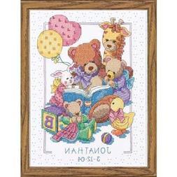 Cross Stitch Kit TEDDY AND FRIENDS BIRTH RECORD Baby Dimensi