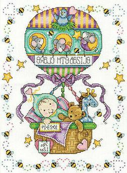 Cross Stitch Kit ~ Tobin Balloon Ride Baby Sampler Birth Rec