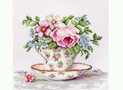 Cross stitch kit - Turquoise Themed Tea Cups, Luca-S BA2325