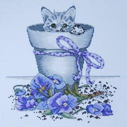 Design Works 'FLOWERPOT KITTY' Cross Stitch Kit