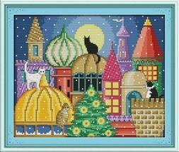 Joy Sunday Cross Stitch kits, The cat city,11CT Stamped, 38c
