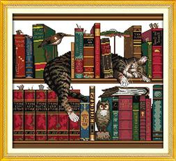 Joy Sunday Cross Stitch Kits 14CT Counted The Cat on The She