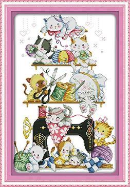cross stitch kits counted kitten