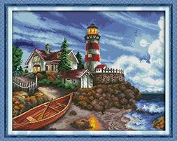 Happy Forever Cross Stitch Scenery, the seaside lighthouse 3