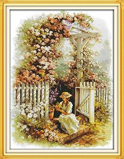 Happy Forever Cross Stitch Scenery, garden girl