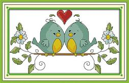 eGoodn Cross Stitch Stamped Kit Pre-Printed Pattern Love Bir