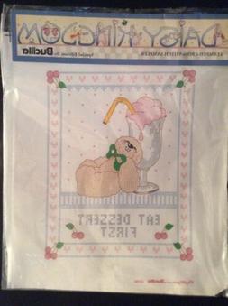 Bucilla Daisy Kingdom Stamped Cross Stitch Sampler 63280 Eat