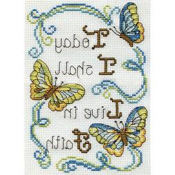 "Design Works Counted Cross Stitch Kit 5""X7""-Live In Faith Mi"