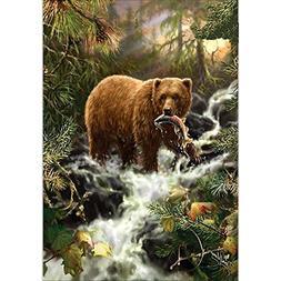 Alloet Diamond Embroidery Bears Eat Fish Round DIY Diamond P