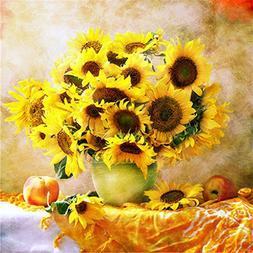 Diy 5d Diamond Painting Embroidery Sunflower Vase Round Diam