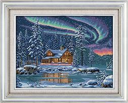 MJH & Arts Brede DIY Aurora Cabin Counted Cross Stitch Kits