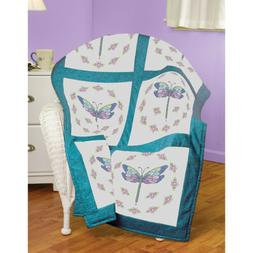 """Dragonfly Quilt Block Stamped Cross Stitch, 18"""" x 18"""", 6pk"""