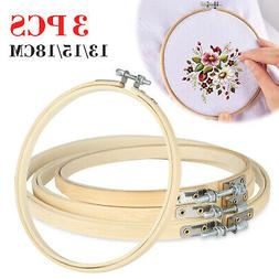 Embroidery Hoops Set Bamboo Wood Round 3, 5, 6, 7 Inch Cross