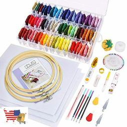 Embroidery Kit 164 Pieces With Instructions 72 Color Threads