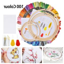 Embroidery Starter Kit 50 Color Threads 5 Bamboo Hoops Needl