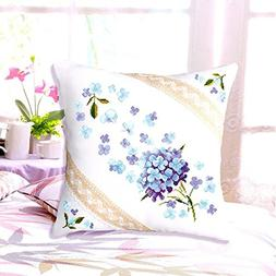 DOMEI Floral Design Cushion Cover Stamped Cross Stitch Kit,
