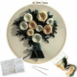 Flower Embroidery Kit for Beginners Adults Cross Stitch Kit