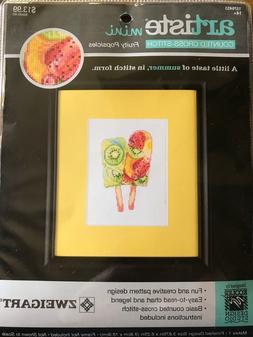 Fruity Popsicles, Artiste Mini Cross Stitch Kit, Zweigart