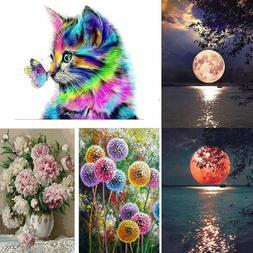 Full Drill Cat Moon Flower 5D Diamond Painting Cross Stitch