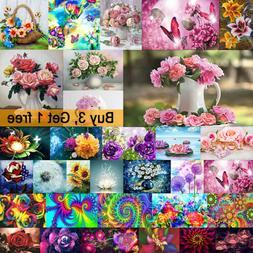 Full Drill Flower DIY 5D Diamond Painting Cross Stitch Embro