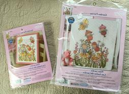 Garden Fairies Crib Cover Birth Record Bucilla Cross Stitch