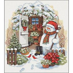 Garden Shed Snowman Counted Cross Stitch Kit-12X14 14 Count