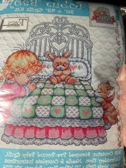 GIRL Bedtime Prayer Tobin Baby Quilt Kits Stamped Cross Stit