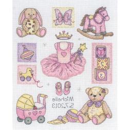"Girl Birth Record Counted Cross Stitch Kit-9-1/2""X7-3/4"" 16"